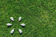 Energy Efficient Light Bulbs On Green Grass Stock Photo