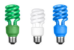 Energy efficient light bulbs on white Royalty Free Stock Photos