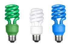 Energy efficient light bulbs on white Royalty Free Stock Photos