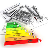 Energy efficient rated construction vector illustration