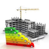 Energy efficient rated construction site royalty free illustration