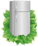 Energy Efficient Refrigerator. Refrigerator with leaves to indicate energy efficiency. Refrigerator and leaves are on a separate layer. Each leaf is grouped to vector illustration