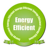 Energy Efficient Seal. A green gradient seal with Energy Efficient text and ribbon Stock Photo