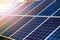 Energy-efficient solar panels producing electricity Stock Images