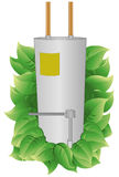Energy Efficient Water Heater. Water Heater with leaves to indicate energy efficiency. Water Heater and leaves are on a separate layer. Each leaf is grouped to royalty free illustration
