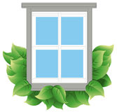Energy Efficient Window. Window with leaves to indicate energy efficiency. Window and leaves are on a separate layer. Each leaf is grouped to make it easier to royalty free illustration