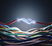 Energy. An electric wire cutted, pass through the air a lot of energy. Clipping path included Royalty Free Stock Images