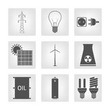 Energy, electricity icons Royalty Free Stock Images