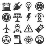 Energy Electricity Icons Set on White Background. Vector royalty free stock image