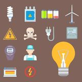 Energy electricity power icons battery vector illustration electrician voltage socket technology. Royalty Free Stock Photos