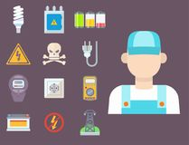 Energy electricity power icons battery vector illustration electrician voltage socket technology. Stock Image