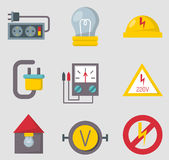 Energy electricity power icons battery vector illustration electrician voltage socket technology. Royalty Free Stock Image
