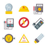 Energy electricity power icons battery vector illustration electrician voltage socket technology. Energy electricity power icons battery vector collection Stock Photography