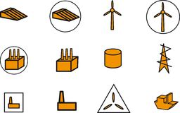 Energy, electricity, power icons Royalty Free Stock Images
