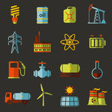 Energy, electricity, power vector flat icon set Stock Photography