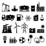 Energy, electricity, power vector icons set. Energy, electricity, power vector flat black icons Stock Photo