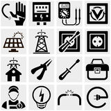 Energy, electricity, power vector icons set. Energy, electricity, power icons set  on grey background.EPS file available Royalty Free Stock Photography