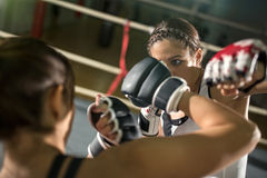Energy female boxer practicing stock photography