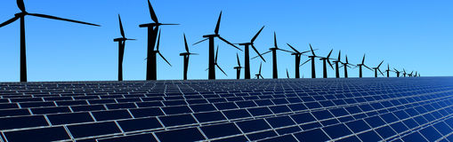 Energy field. Production of energy from natural resources through the collection of solar and wind energy.  Solar energy collectors and wind turbines Royalty Free Stock Photo