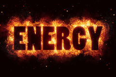 Energy fire flames burn burning text explosion explode Stock Images