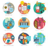 Energy flat icons composition set. Energy  concept flat round icons composition collection of clean power generation and transmission abstract vector Stock Image