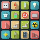 Energy flat vector icons Royalty Free Stock Image