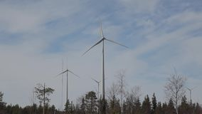 Energy in the forrest created by turbines  stock video footage