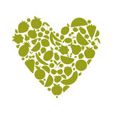 Energy fruit heart shape for your design Royalty Free Stock Image