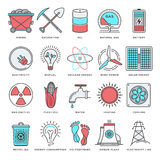 Energy and Fuels Flat Line Icon Set Royalty Free Stock Photography