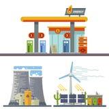 Energy and Gas Station. Urban and village landscape. Ecology. Vector flat illustration stock illustration