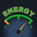 Energy Gauge Shows Power Source And Dial Royalty Free Stock Photography