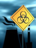 Energy generation atom station. Atomic power station silhouette. Nuclear security theme. Warning yellow road sign with biohazard icon. 3D rendering Stock Photos