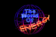 Energy Globe. Isolated on black, a globe signifying global energy stock images