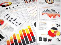 Energy graphs and charts. Multiple graphs and charts with energy information and icons Stock Images