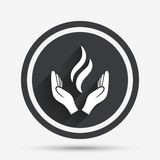 Energy hands sign icon. Power from hands symbol. Royalty Free Stock Photo