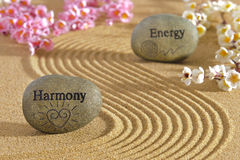 Energy and harmony. Zen garden with stones of harmony and energy royalty free stock photos