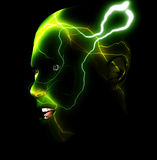 Energy Head 4. An abstract image of a man with energy or lightning for a head Stock Image