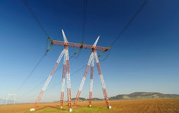 Energy high power line transportation Stock Photos