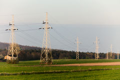 Energy. High voltage post. Electricity pylons. Stock Photos