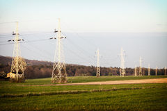 Energy. High voltage post. Electricity pylons. Stock Photo