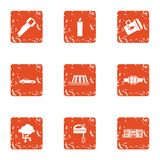 Energy for house icons set, grunge style. Energy for house icons set. Grunge set of 9 energy for house icons for web isolated on white background stock illustration