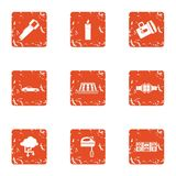 Energy for house icons set, grunge style. Energy for house icons set. Grunge set of 9 energy for house vector icons for web isolated on white background stock illustration