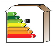 Energy House - Rate C. Energy saving scale - ratings A to G stock illustration