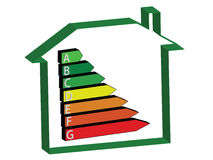 Energy House - Ratings. Energy saving scale - ratings A to G stock illustration