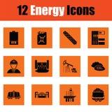 Energy icon set. Orange design. Vector illustration Royalty Free Stock Photography