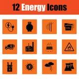 Energy icon set. Orange design. Vector illustration Royalty Free Stock Photos