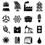 Energy icon set. Energy related icon set in black Stock Photography
