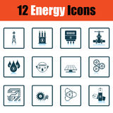 Energy icon set. Shadow reflection design. Vector illustration Royalty Free Stock Images