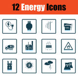 Energy icon set. Shadow reflection design. Vector illustration Stock Images