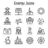 Energy icon set in thin line style. Illustration Royalty Free Stock Photos